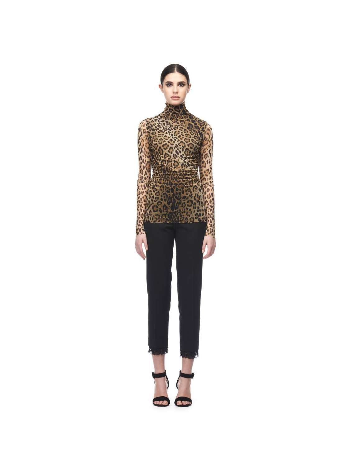 Turtleneck animal print top