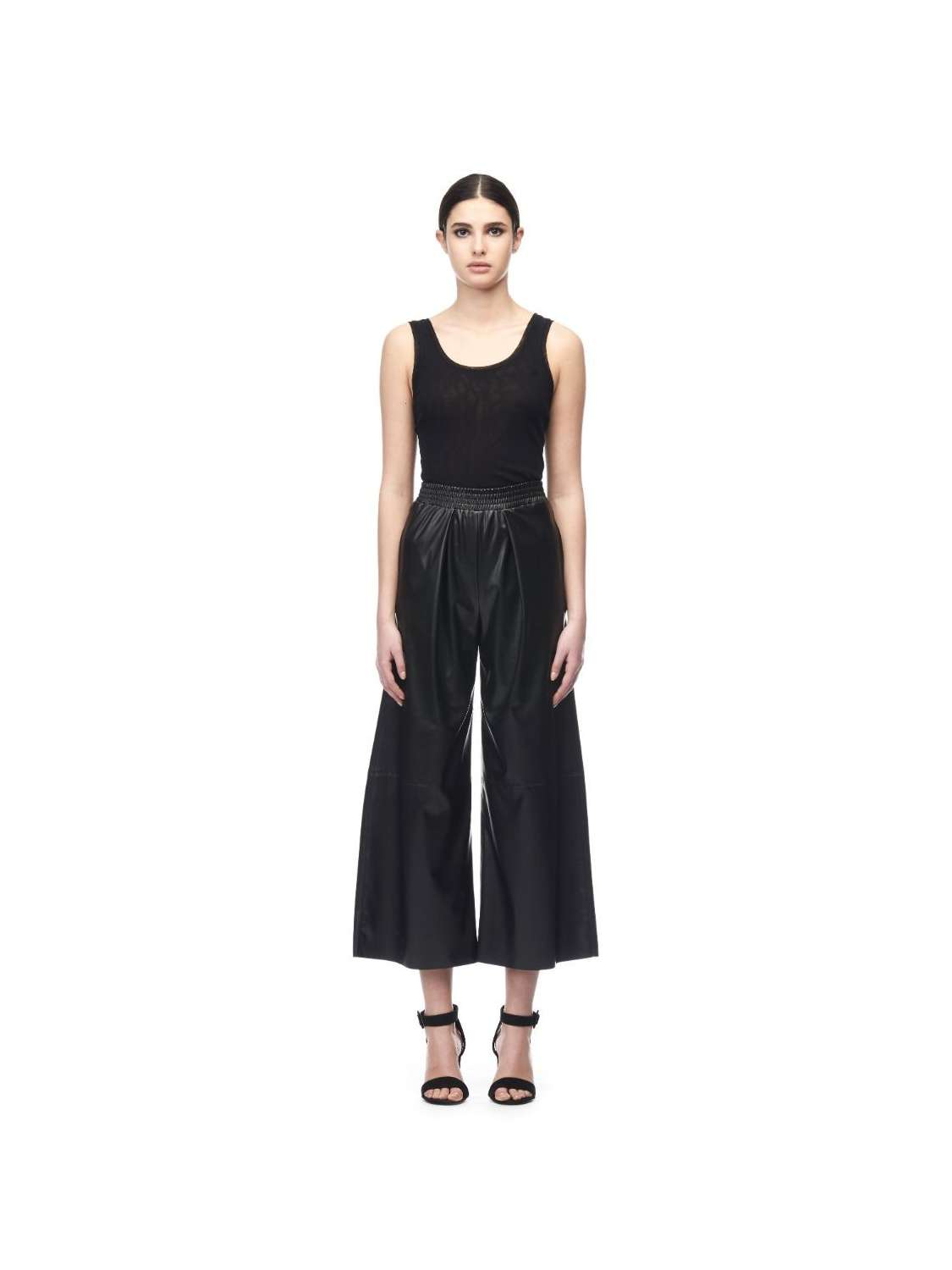 Eco leather culottes pants
