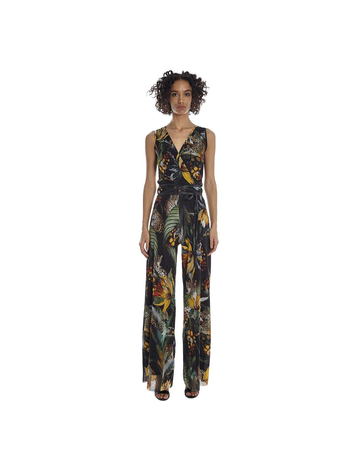 Printed tulle jumpsuit with...