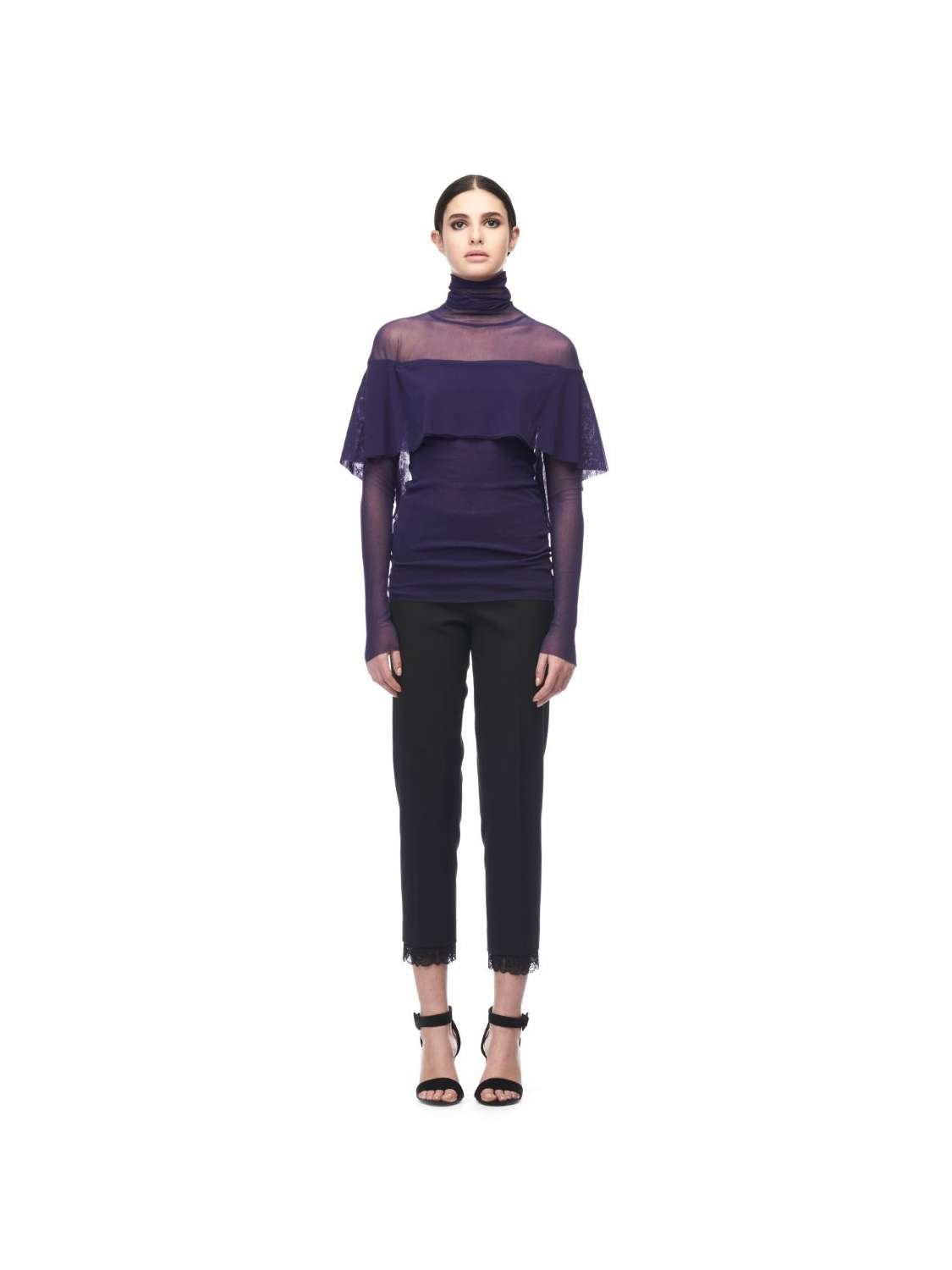 Turtleneck tulle top with...