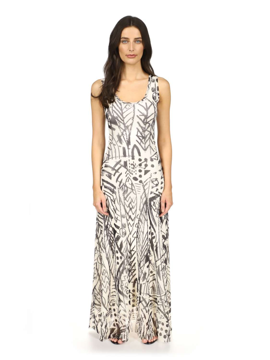 Printed tulle long dress