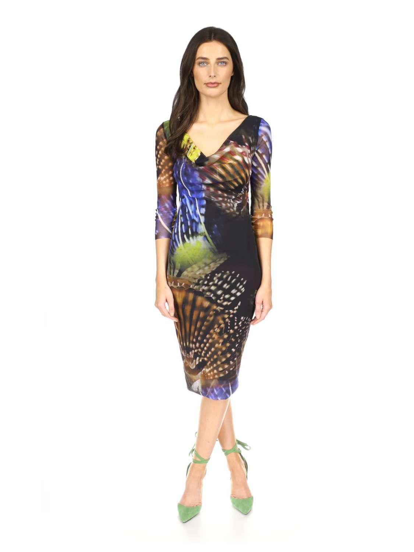 Printed tulle midi dress