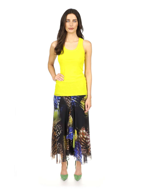 Pleated printed tulle skirt
