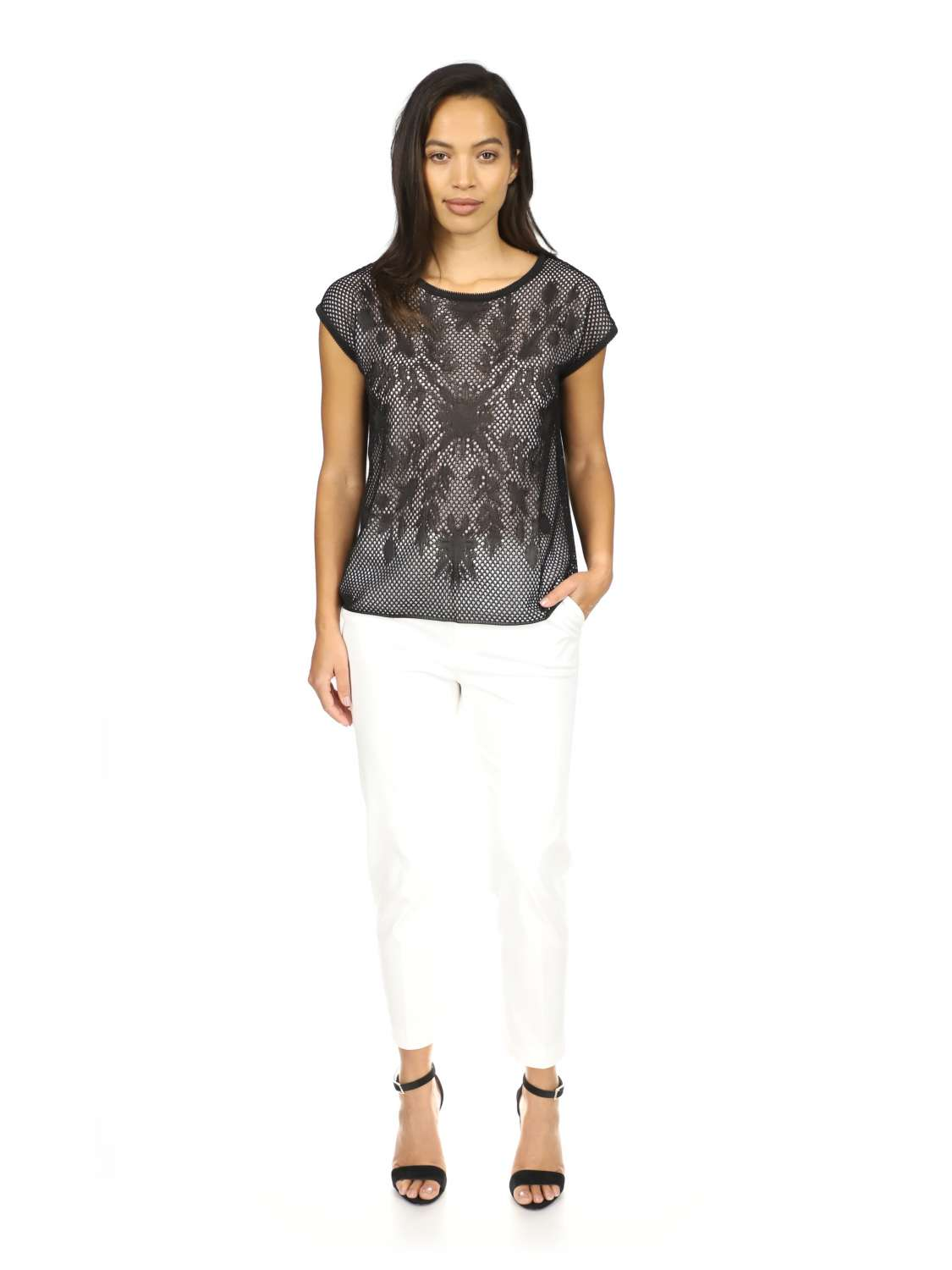 Viscose and tulle t-shirt